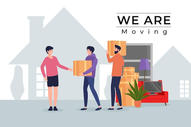 Flat design house moving concept with charaters