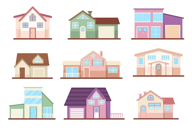 Flat design house pack