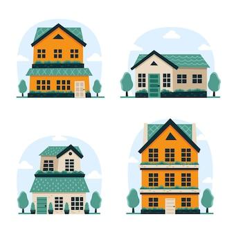 플랫 디자인 하우스 팩