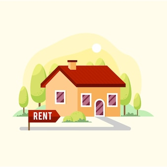 Flat design house for rent