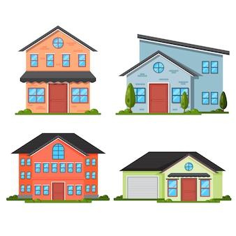 Flat design house set