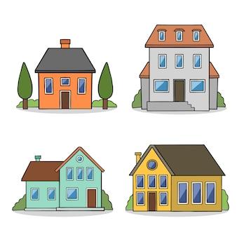 평면 디자인 하우스 세트
