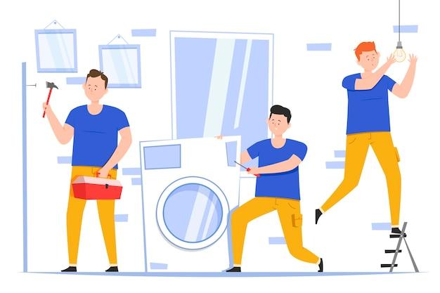 남자와 평면 디자인 가정 및 혁신 직업