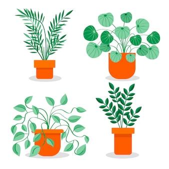 フラットデザインの観葉植物コレクション