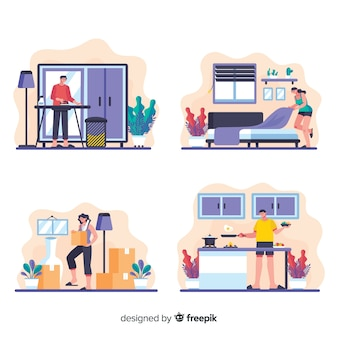 Flat design housework cartoon collection