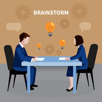 Flat design human resources background with two people brainstorming for business ideas in office illustration