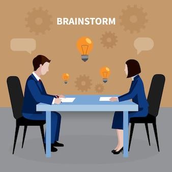 Плоский дизайн человеческих ресурсов фон с двумя людьми, мозговой штурм для бизнес-идей в офисе иллюстрации