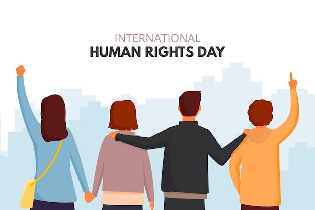 後ろからフラットなデザインの人権デーの人々