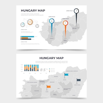 평면 디자인 헝가리지도 infographic