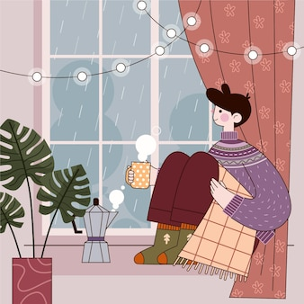 Flat design hygge concept with character