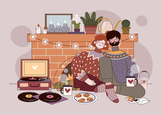 Flat design hygge concept with couple