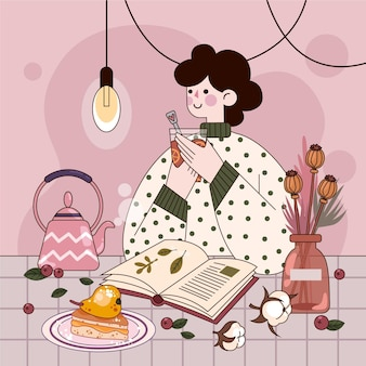 Flat design hygge concept with woman and hot drink