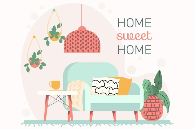 Flat design hygge indoors furniture