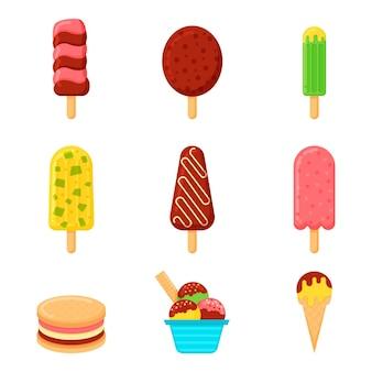 Flat design ice cream collection