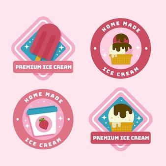 フラットデザインのアイスクリームラベルパック