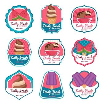 Flat design ice cream label pack