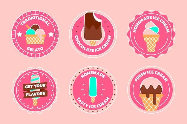 Flat design ice cream label set