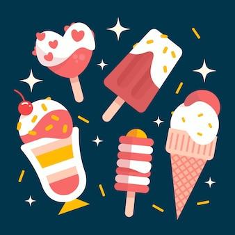 フラットなデザインのアイスクリームセット