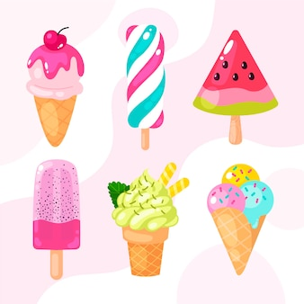 평면 디자인 아이스크림 세트