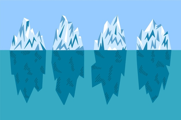 フラットなデザインの氷山イラストパック