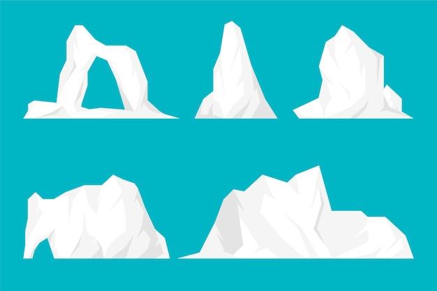 Flat design iceberg illustration set