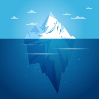フラットなデザインの氷山イラスト