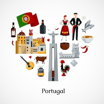ポルトガルの国民シンボルアトラクション料理と服装のベクトル図とハートの形のフラットデザインアイコン
