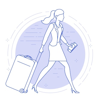 Flat design icon of young woman with suitcase in the airport.
