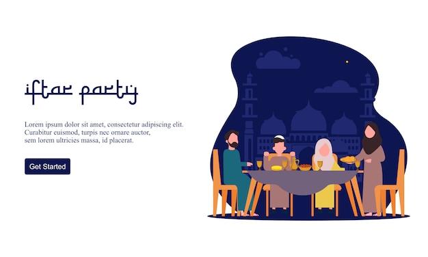 Плоский дизайн ифтар еды после поста праздник партии концепции. мусульманский семейный ужин на рамадан карим или празднование ид с народным характером.