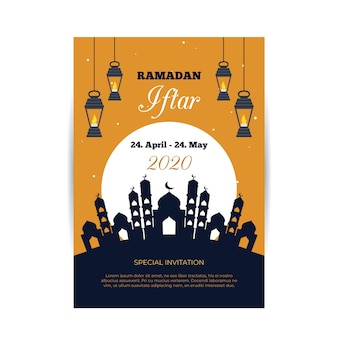 Flat design iftar invitation template concept