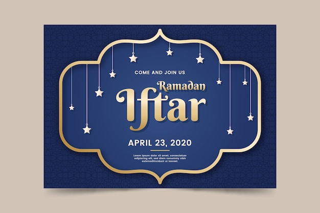 Flat design iftar invitation template concept