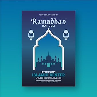 Flat design iftar invitation template style