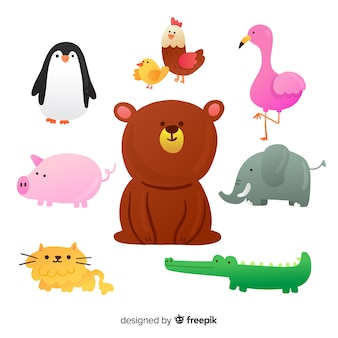 Flat design illustrated cute animals collection