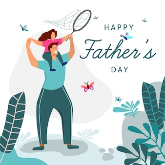 Flat design illustrated fathers day concept