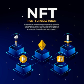 フラットなデザインはnftの概念を示しています
