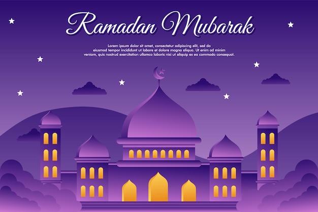 Плоский дизайн иллюстрированный шаблон оформления фона рамадана мубарака