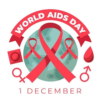 Flat design illustrated world aids day