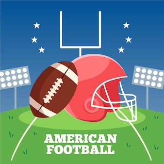 Flat design illustration american football