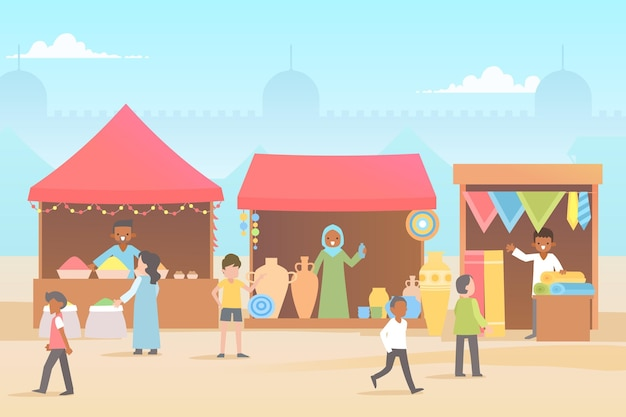 Flat design illustration arab bazaar