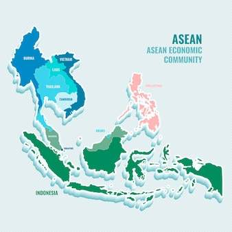 Flat design illustration asean map