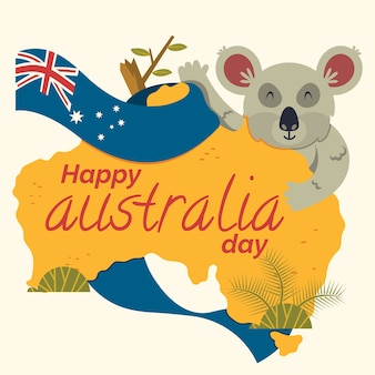 Flat design illustration australia day