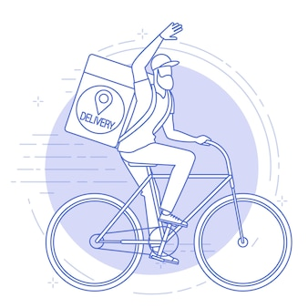 Flat design illustration of bicycle courier.