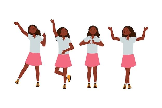 다른 포즈의 평면 디자인 일러스트 흑인 소녀