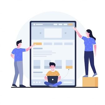 Flat design illustration of branding concept for a website landing page