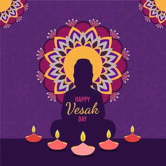 Flat design illustration for celebrating vesak