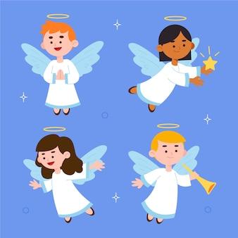 Flat design illustration christmas angel