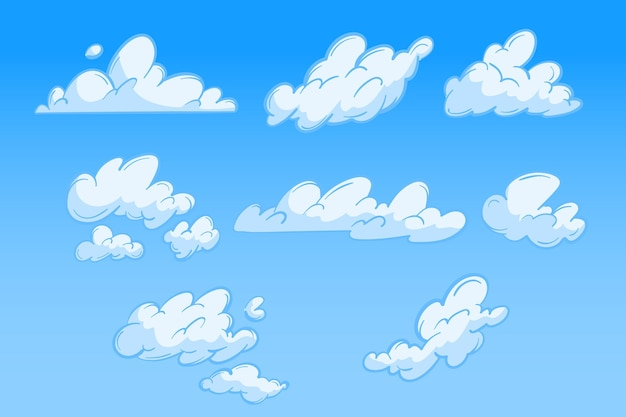 Flat design illustration of cloud collection