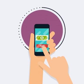 온라인 지불 방법의 평면 디자인 일러스트 레이 션 개념. 인터넷 뱅킹, 온라인 구매 및 거래, 전자 자금 이체 및 은행 송금.