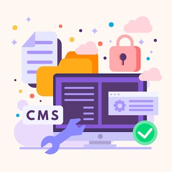 Flat design illustration of content management system