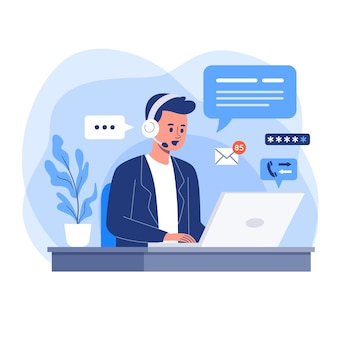 Flat design illustration customer support